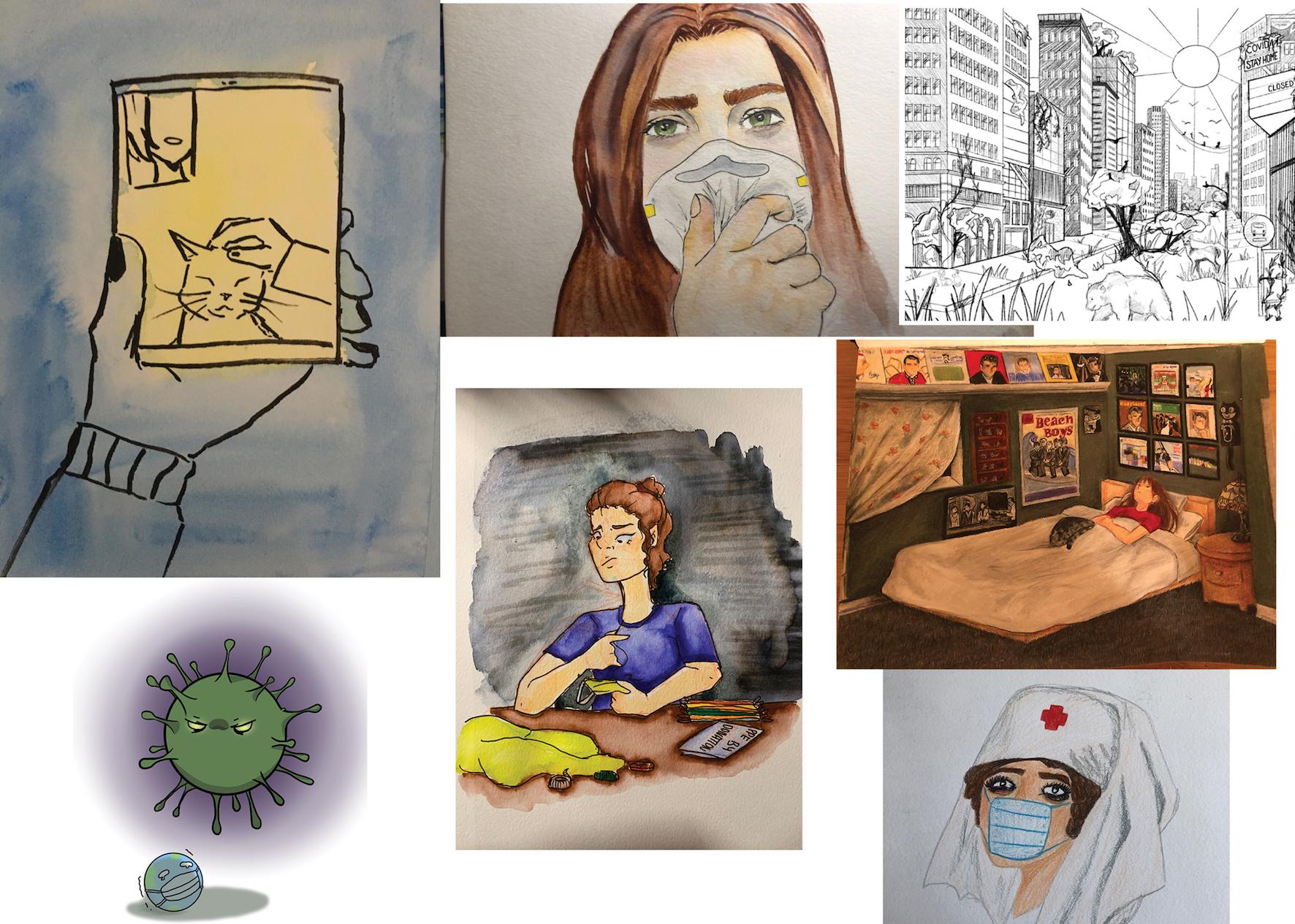 Students' (Kelly Palm, Abby Ridd , Chara Chen, Vivian Selmes, Yvonne Cao, Aila Brampton) COVID-19 art project created in Elphinstone Art Teacher Ellory Robertson's class.