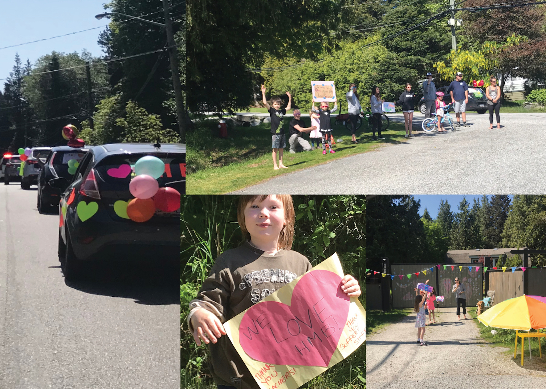 Halfmoon Bay Elementary Parade. Principal Brisebois commented: 'There were so many smiling faces and friendly cheers. We can't wait until we can be together again! We miss our families.'