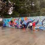The amazing mural that is being painted by intermediate NEST - Reef and Rookery at Davis Bay Elementary