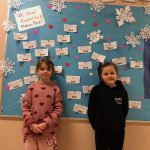 Madeira Park students in front of their kindness wall