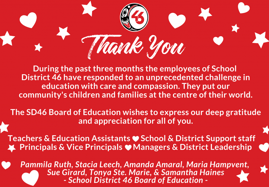 SD46 Board Thank You to Staff